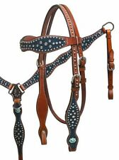 Western Horse Bling ! Bridle Headstall + Breast Collar Teal Leather Tack Set
