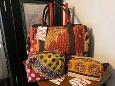 SARI BARI Hand-Made from 100% Cotton Saris 1 Large TOTE & 2 MAKE-UP BAGS SET~NWT