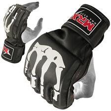 MMA Fight Gloves Grappling Cage Kick Boxing Black Leather Glove Bone Design, M