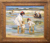 Framed Original Oil-on-Canvas - CHILDREN AT THE SEASHORE - Signed D. Jones