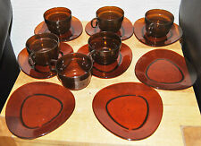 Vintage Retro 'Wooster' Translucent Brown Plastic Cups, Saucer & Plates. Picnic