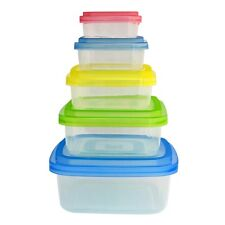 Home Collections 10 Piece Square BPA Free Storage Container Set w/ Colored Lids