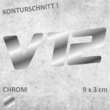 V12 Schriftzug CHROM Autoaufkleber JDM Sticker Aufkleber 9 x 3 cm