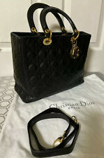 Christian Dior Large Lady Dior Cannage Lambsking Leather 2 Way Bag. Vintage .