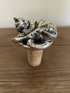 Pewter Lounging Cat 🐈 Wine Stopper/Cork 🍷 Pre-Owned