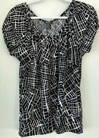 Kenneth Cole Reaction Women's Small Short Sleeve Career Black White Top Abstract