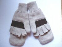 Thinsulate Insulation Wool Convertible Fingerless Gloves/Mittens NEW without tag