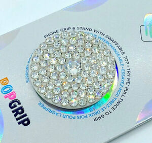 Bling White Phone Grip/Phone Stand made with Clear Swarovski Crystals