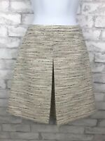 J Crew Women's Cream and Multi-color Tweed Box Pleat A-Line Skirt Size 2