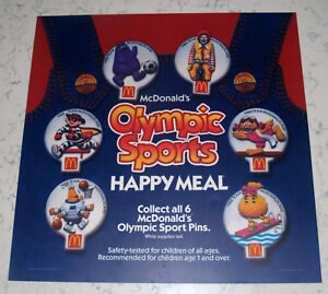 VINTAGE 1988 SEOUL OLYMPICS OLYMPIAD MCDONALDS HAPPY MEAL TOY RESTAURANT SIGN