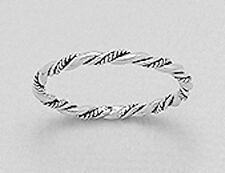 2mm Wide Solid Sterling Silver Everyday Style Rope Twist Ring sz9 SKINNY 1.2g