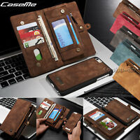 For iPhone X 8 7 6S Plus Wallet Leather Magnetic Removable Flip Cover Card Case
