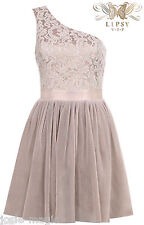 Lipsy VIP One Shoulder Pleated Daydream Lace Prom Dress UK 16 Party/Evening New