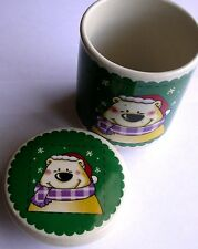 Stoneware Storage Canister. Merry Brite (MB) Scarf-wearing Winter/Christmas Bear