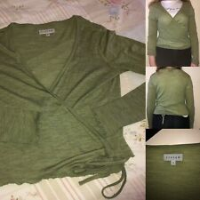 Ladies Jigsaw Wrap Top Size S Green Wool Mix