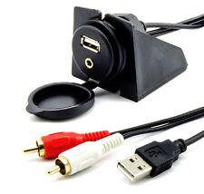 USB AUX Einbau Buchse Klinke Cinch Adapter PC Kabel 2m Verlängerung KFZ