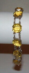 Art Deco Vintage Yellow Openback Crystal Stones Sterling Silver Link Bracelet