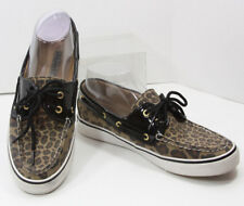 Sperry-Topsider Womans Leopard Boat Shoes 8M Textile Patent Animal Print Black