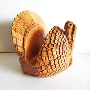 "Ceramic Thanksgiving Turkey Kitchen Napkin Holder Holiday Table 6.25"" FREE SH"