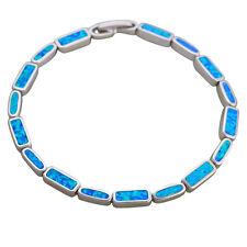 OB069 Romantic Christmas Gifts  Silver Fashion Jewelry Blue Fire Opal Bracelets