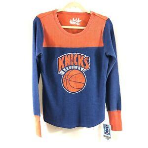NBA New York Knicks Womens Thermal Top Throwback Retro Orange Blue Size M