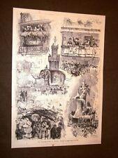 Incisione del 1879 Il Carnevale di Roma Loggia della Regina e Carro Romano