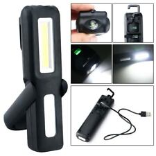 USB Rechargeable 3W COB LED Work Light Lamp Magnetic Flashlight Torch Black