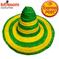 AS250 Green Yellow Mexican Sombrero Costume Hat Australian Day Spanish Fiesta