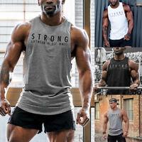 Men Gym Muscle Shirt Tank Sleeveless Top Bodybuilding Sport Fitness Vest
