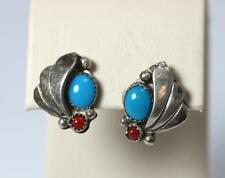 Native American Sterling Silver Turquoise & Coral Fan Earrings F Platero - 362