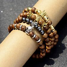 Fashion Men Wood Crown Skull Bracelets Men Women Healing Balance Bracelets Gift