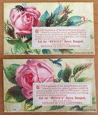 1881 2 PERFUME MAKER TRADE CARDS Wenck's Opera Bouquet CHROMOLITHOGRAPHS Nosegay