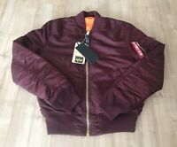 Alpha Industries MA-1 Bomber Jacket Maroon/Burgundy Size Small