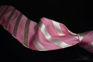 LNWOT Anonymous Hand Made Italy Plush Satin White Pink Block Stripe Silk Tie NR