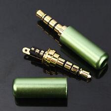 5X3.5mm 4Pole Male Repair headphone GreenPlug Metal Audio Soldering & Back cover