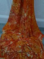 "1m orange multi color Batik 100% African  Print tye dye fabric 45""fabric freedom"