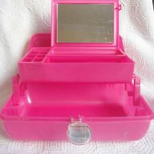 Caboodles Make Up Train Case Cosmetics Jewelry Box Two Tier Mirror Pink 5622
