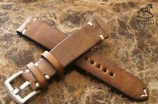 Slim Vintage greenish brown watch strap Hand Made I do custom Genuine leather