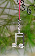 Silver Music Note Keychain, Double Eighth (K20-4N), Great Gift.