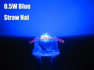 100pcs, 8mm 0.5W Blue Straw Hat High-power LED Leds Light Lamp StrawHat New