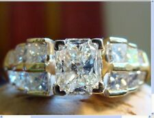 14k YG 1.22 tcw Radiant Cut Diamond Solitaire with Princess Sides-size 5.75