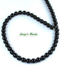 50 Czech Glass Round Druk Beads Jet Black 6mm