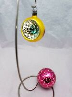 "2 Vntg Glass Christmas ornaments from Poland 2.5"" Indent Red Gold 3"" Round Pink"