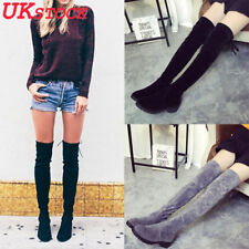Womens Ladies Over The Knee Party Thigh High Boots Long Suede Winter Shoes Size