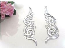 1 x Pair Silver Sequin Lace Motif Appliqué Dance Tutu # 6SR940B