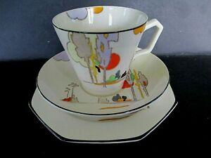 Art Deco Vintage China Tea Set Trio.Tams Ware Woodland.Hand Painted.Excellent.