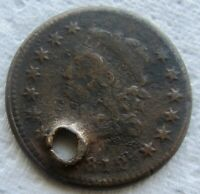 1812 Classic Head Large Cent Rare Date Fine Detail Holed Corroded
