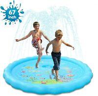"Splash Pad 67""Sprinkler Play Mat for Kids,Splash Water Pad,Wading Pool for Learn"