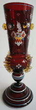 German Bohemian Moser Enamel Sheild Crest Coat of Arms Ruby Vase Vessel c.1880