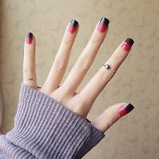 New 24pcs 3D Black and Red Gradient Art Long Fake False Nails Tips Glue N383